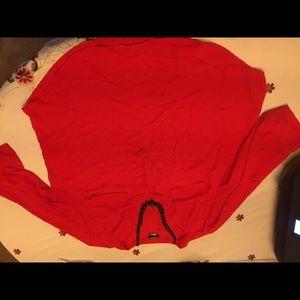 Sheer torrid blouse in red size 1 pocket details